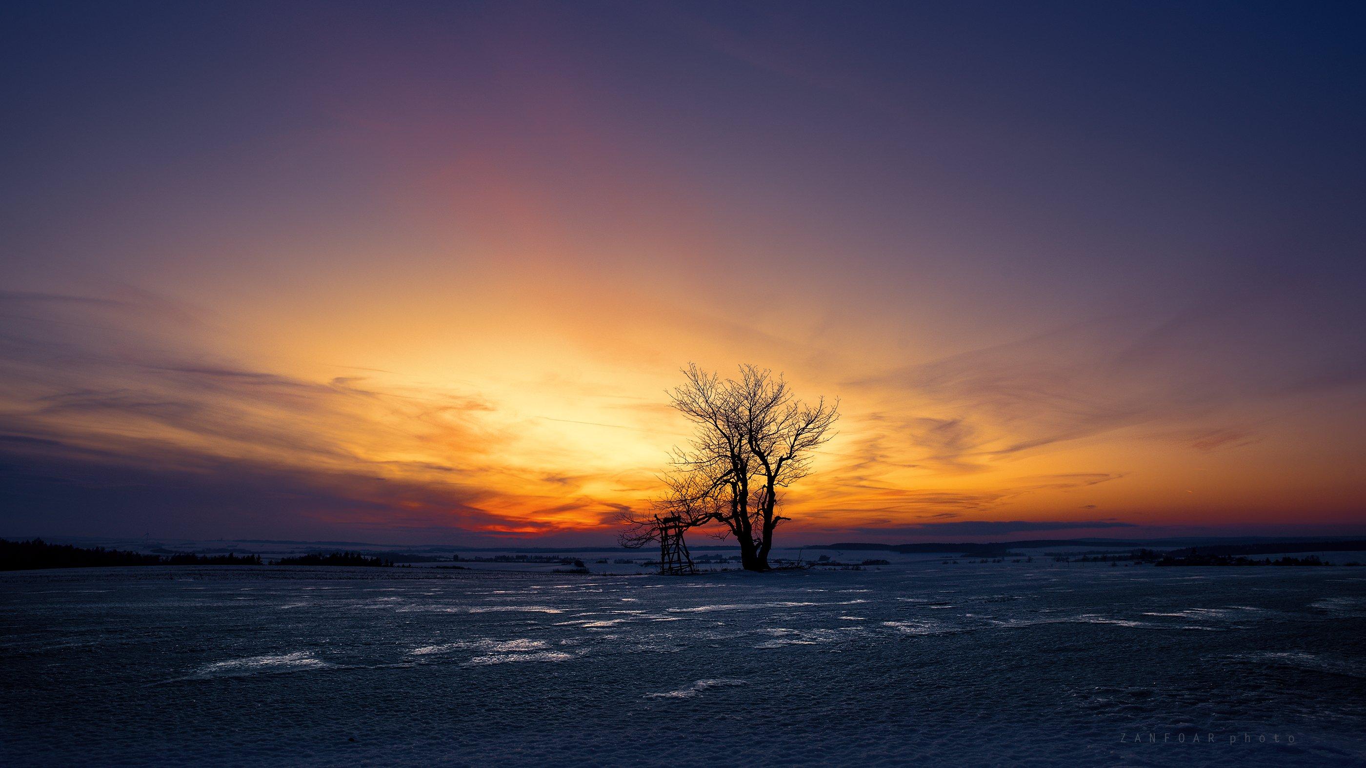 зимний ,закат,horizont,landscape,sunsat,zanfoar,czech republic, Zanfoar