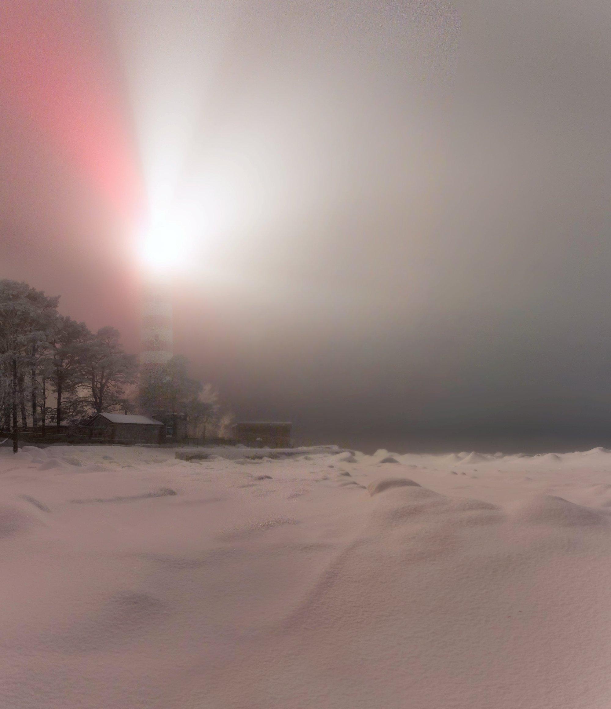 маяк, туман, зима, Vaschenkov Pavel