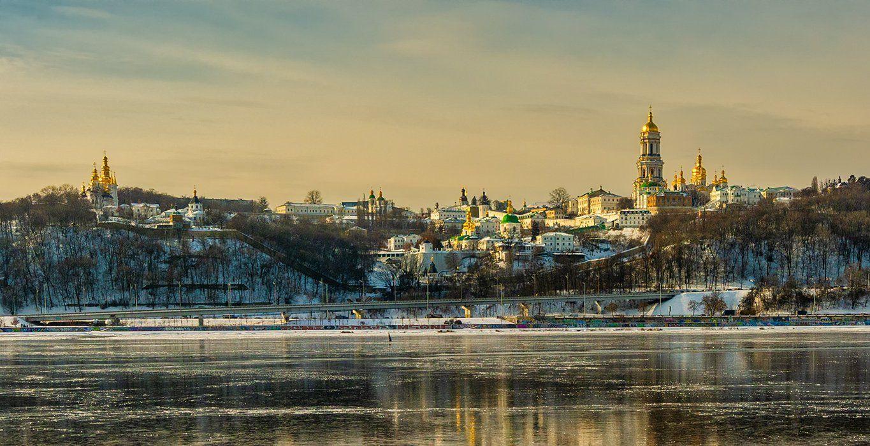 landscape, пейзаж, киев, церковь, монастырь, звонница, колокольня, днепр, река, лед, отражение, купола,, Шерман Михаил
