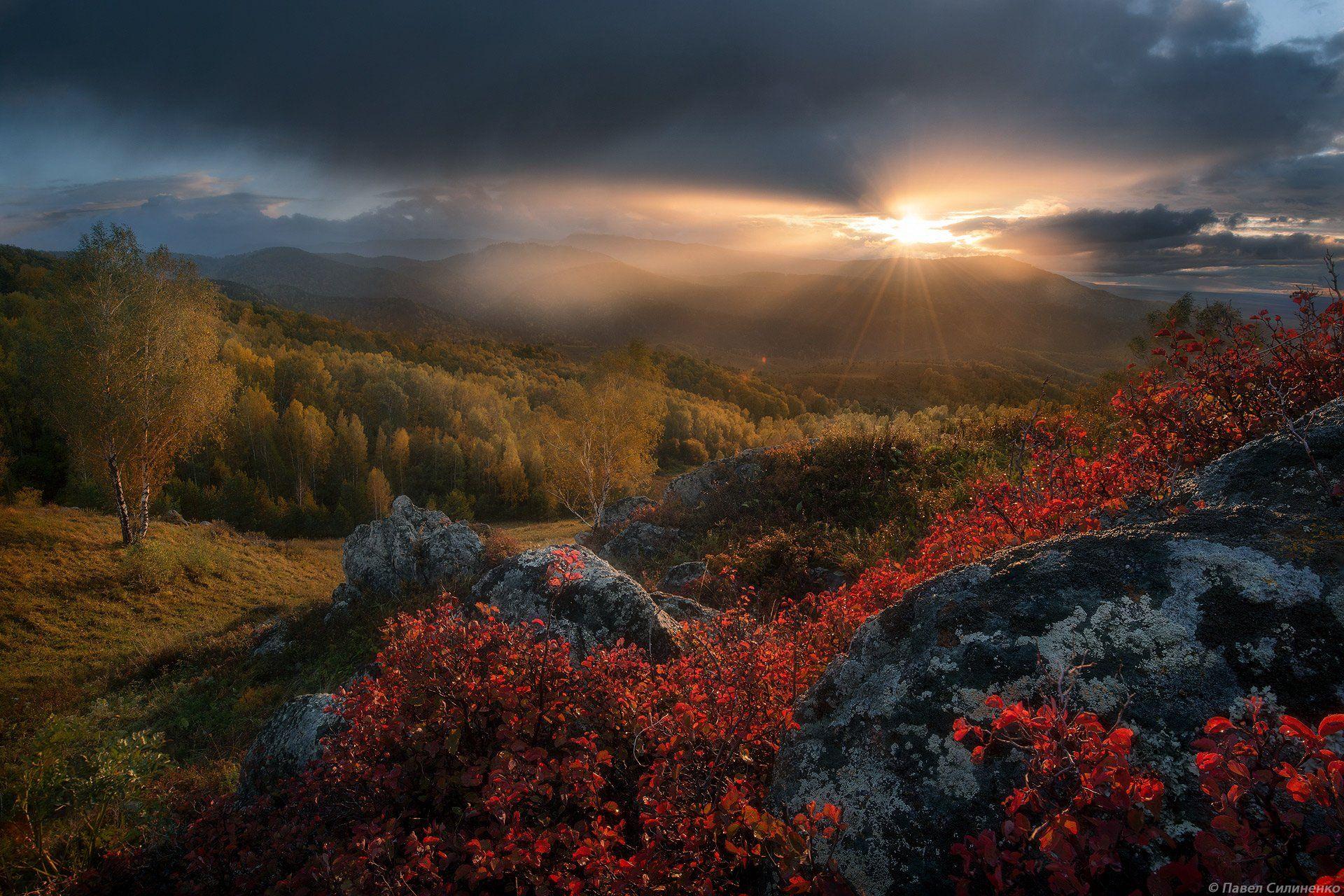алтай, белокуриха, осень, закат, облака, солнце, горы, лес, пейзаж, свет, Павел Силиненко