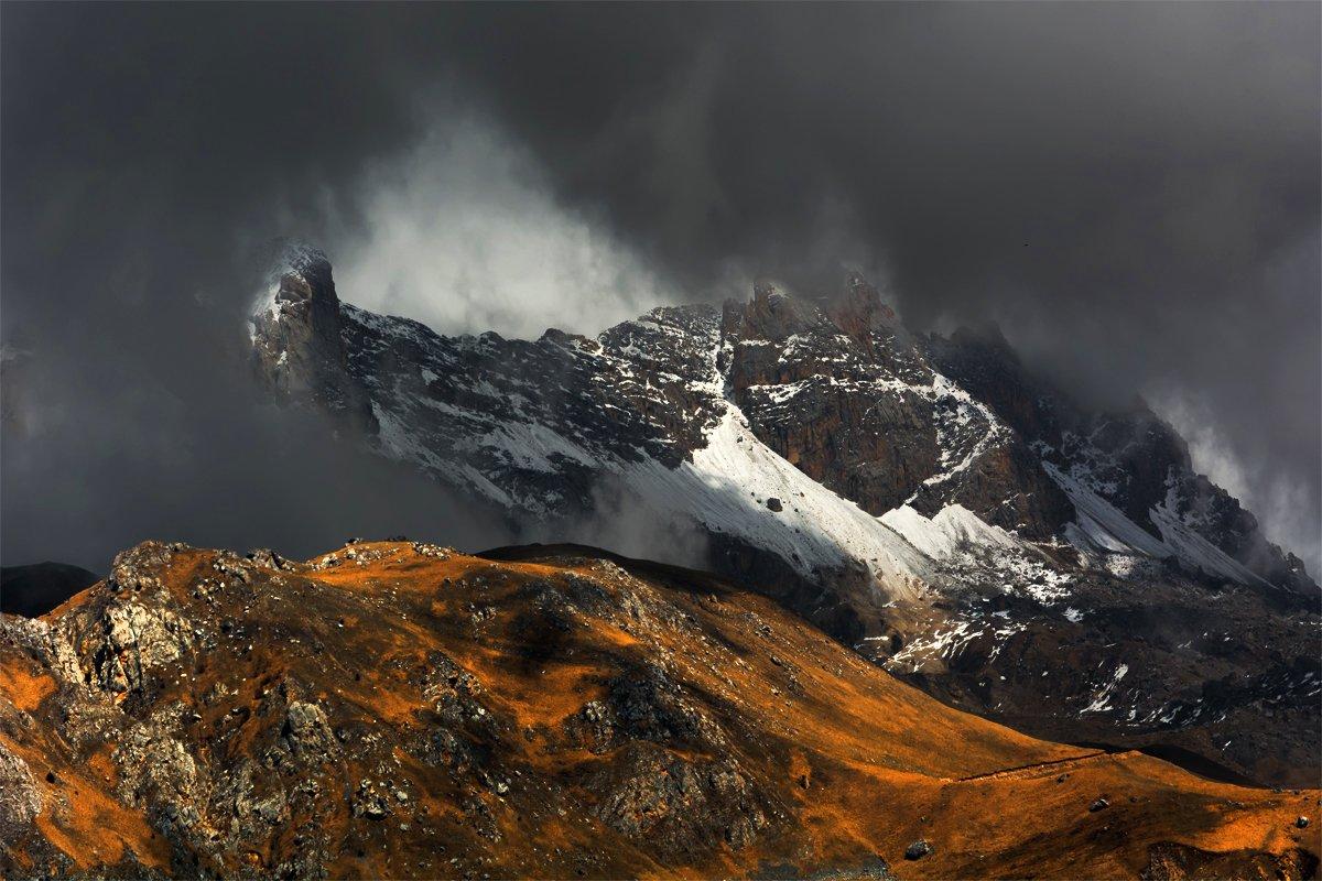 природа, пейзаж, горы, кавказ, природа россии, дикая природа, закат, свет, облака, вечер, весна,, Альберт Беляев