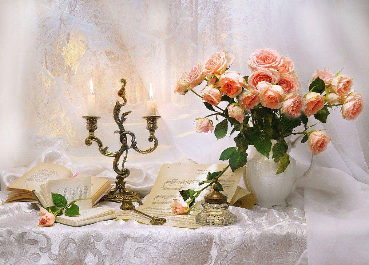 still life,натюрморт,зима, книги, ноты, о свечах, подсвечник, розы, свечи, стихи, февраль, фото натюрморт, цветы, чернильница, Колова Валентина