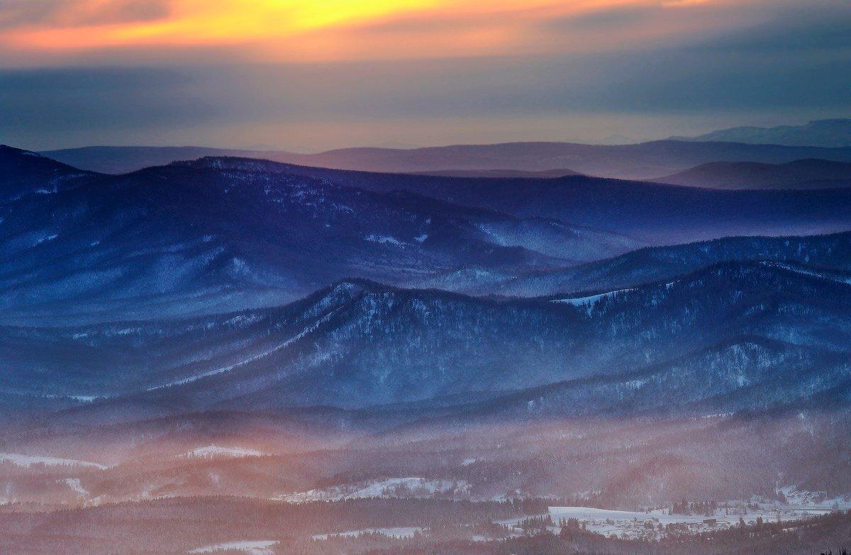 горная шория, сибирь, шерегеш, горы, вечер, закат, зима, Хвостенко Галина