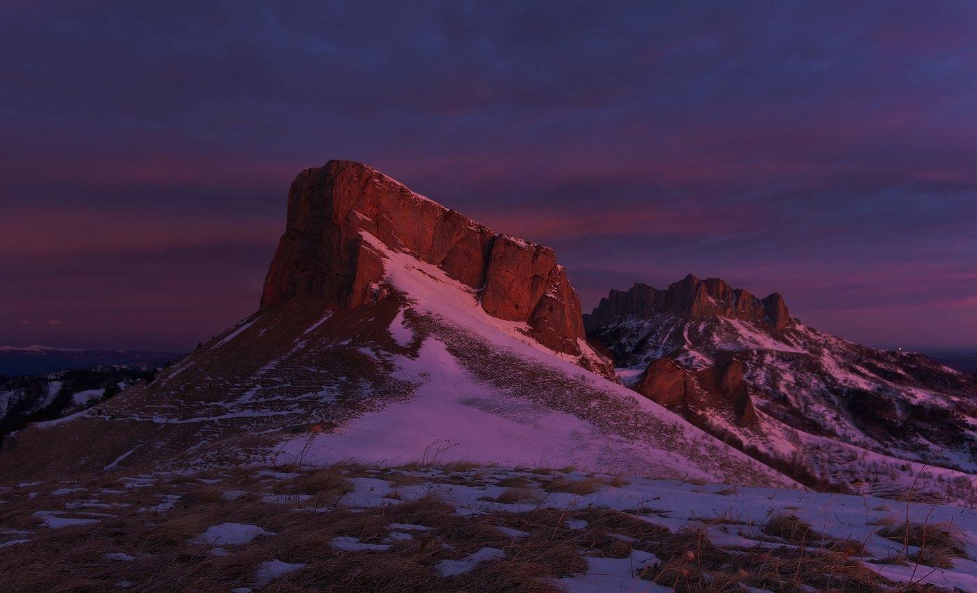 горы, кавказ, рассвет, тхач, зима январь 2012год, ФЁДОР