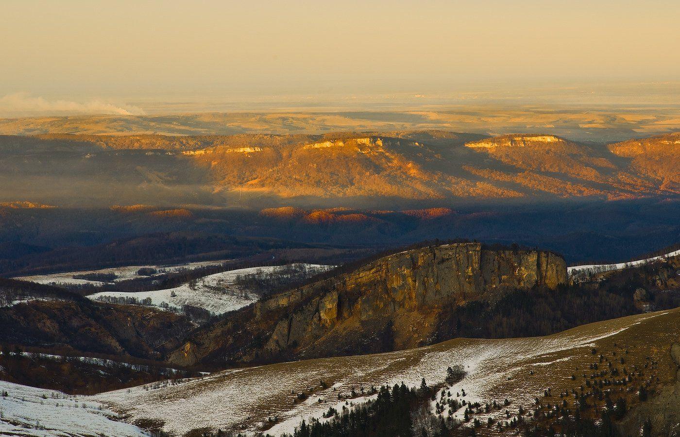 горы, кавказ, закат, тхач, зима январь 2012год, ФЁДОР