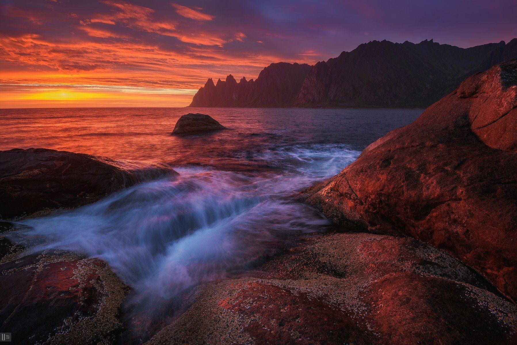 норвегия, norway, сенья, senja, остров, скалы, tungeneset, закат, тучи, море, камни, волны, U-235