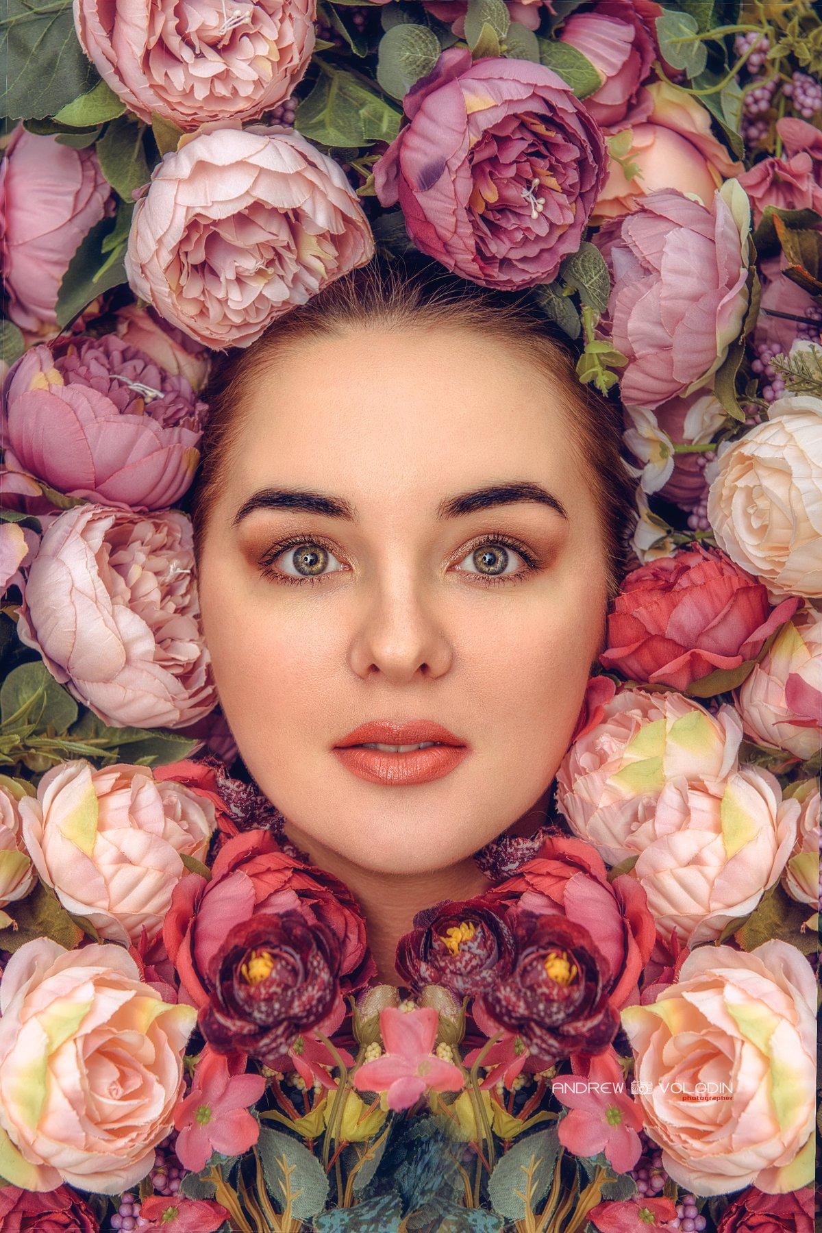 портрет девушка цветы обложкажурнала красиво весна, Андрей Володин