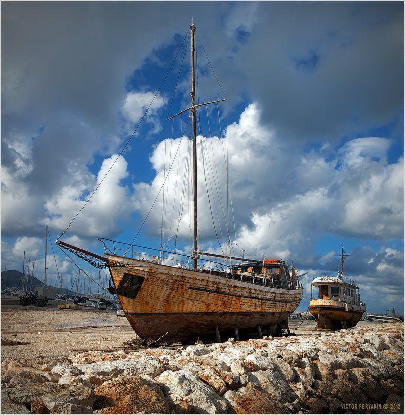 яхты, старина, порт, облака, море, пристань, набережная, стапеля, кипр, лачи, Виктор Перякин