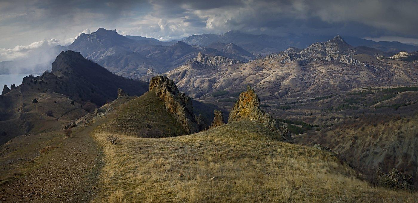 крым, горы, небо, облака, пейзаж, природа, карадаг,, Sergey Shulga