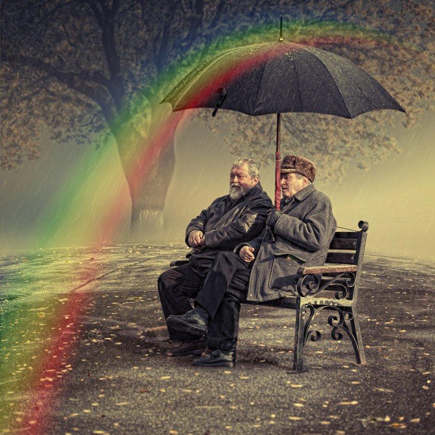 rainbow, umbrella, rain, tree, drops, leaf, bench, man, sitting, surreal, men, wet, fantasy, storyteller, cheating, Caras Ionut