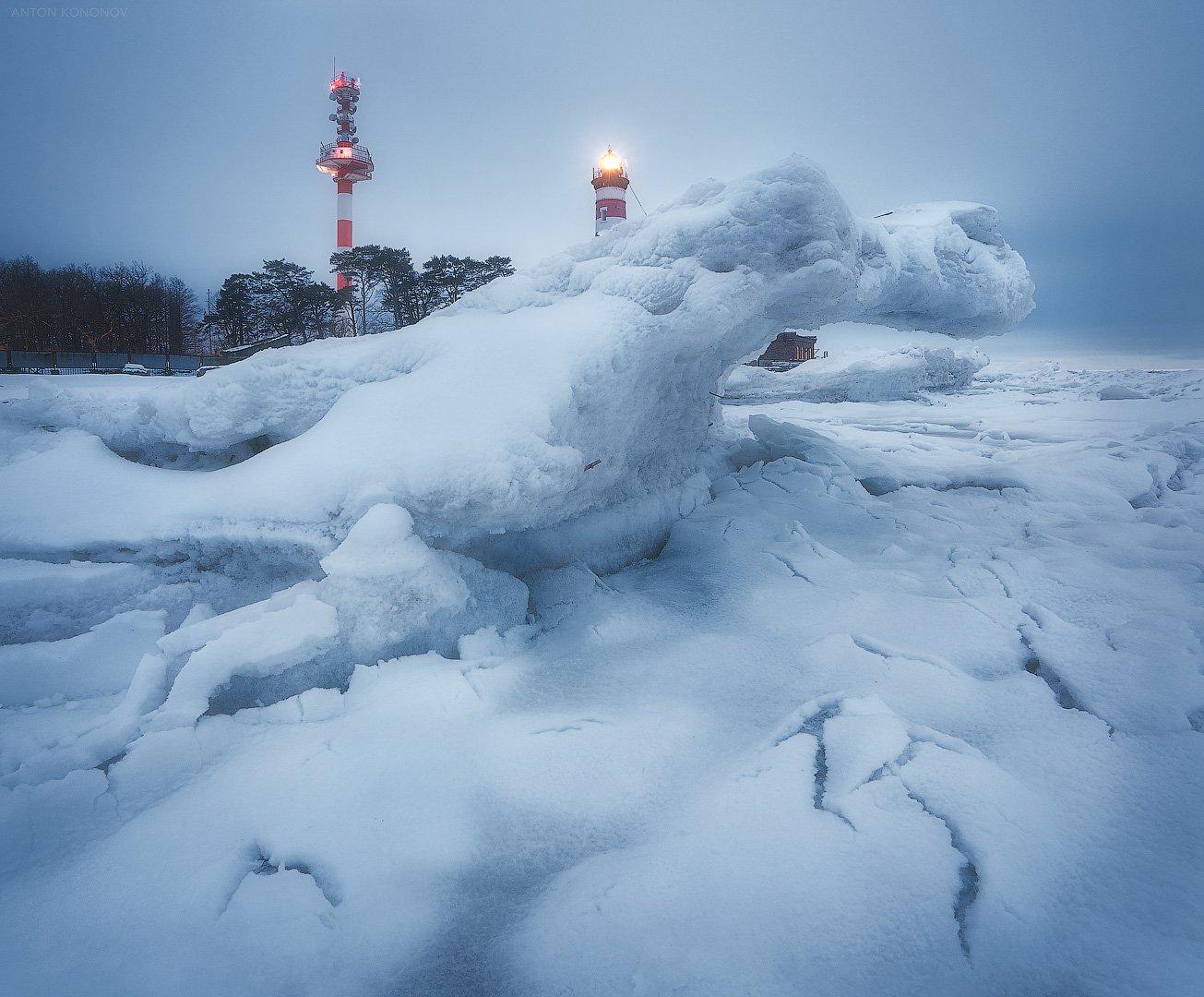 маяк, лёд, сумерки, Кононов Антон
