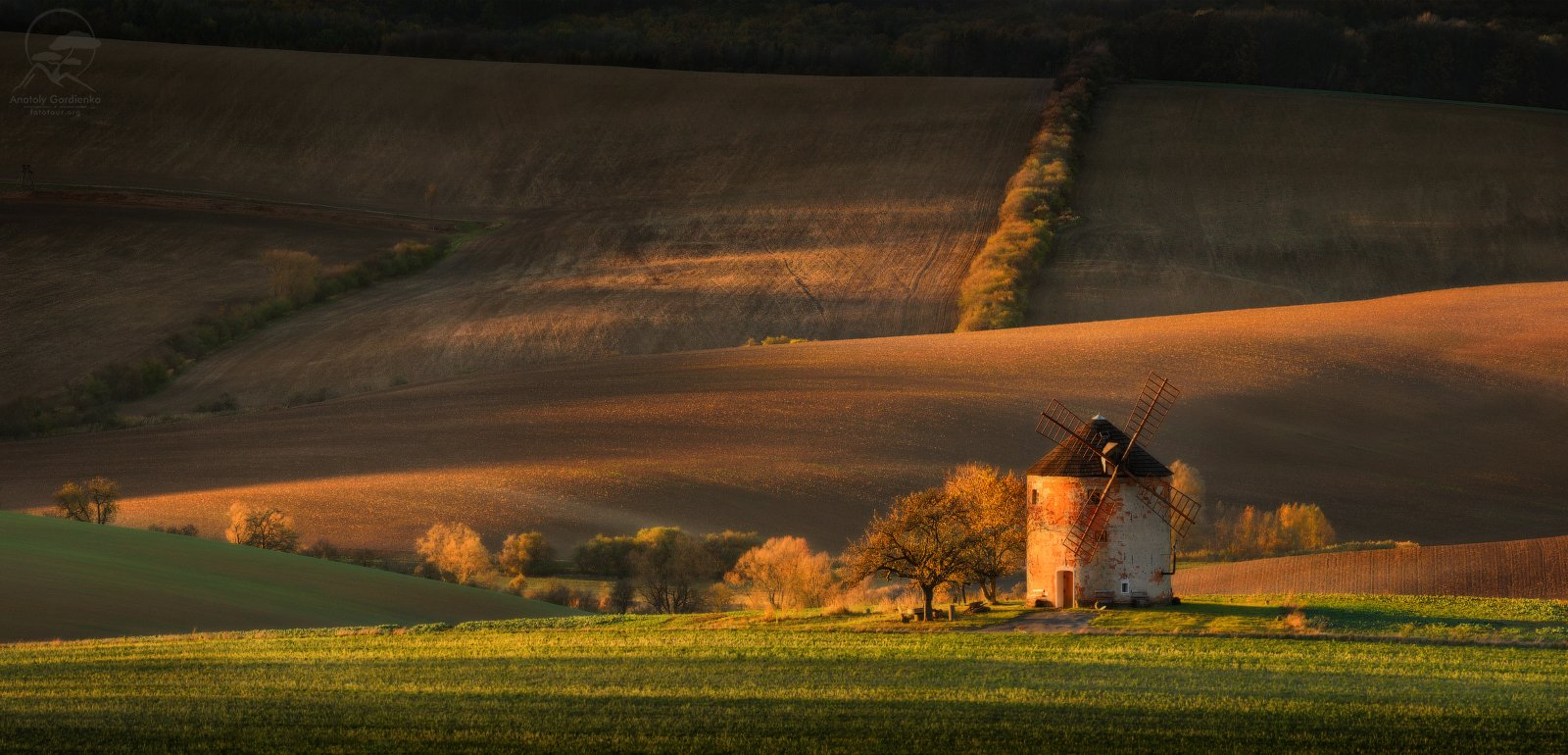 пейзаж, природа, поле, моравия, чехия, мельница, Анатолий Гордиенко www.fototour.org