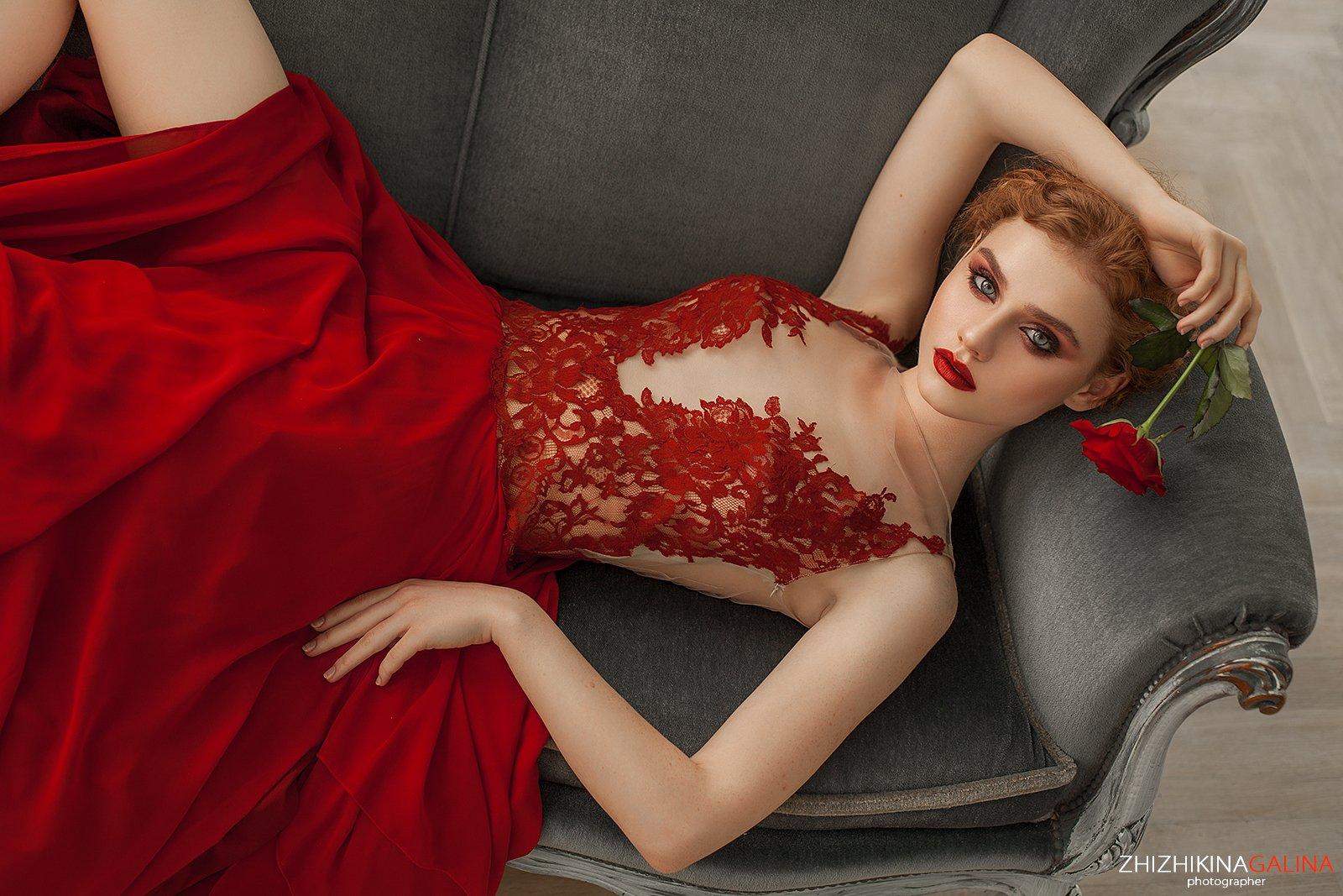 роза, девушка, лицо, красное, красивая, портрет, гламур, фотограф, москва, face, red, girl, portrait, Галина Жижикина