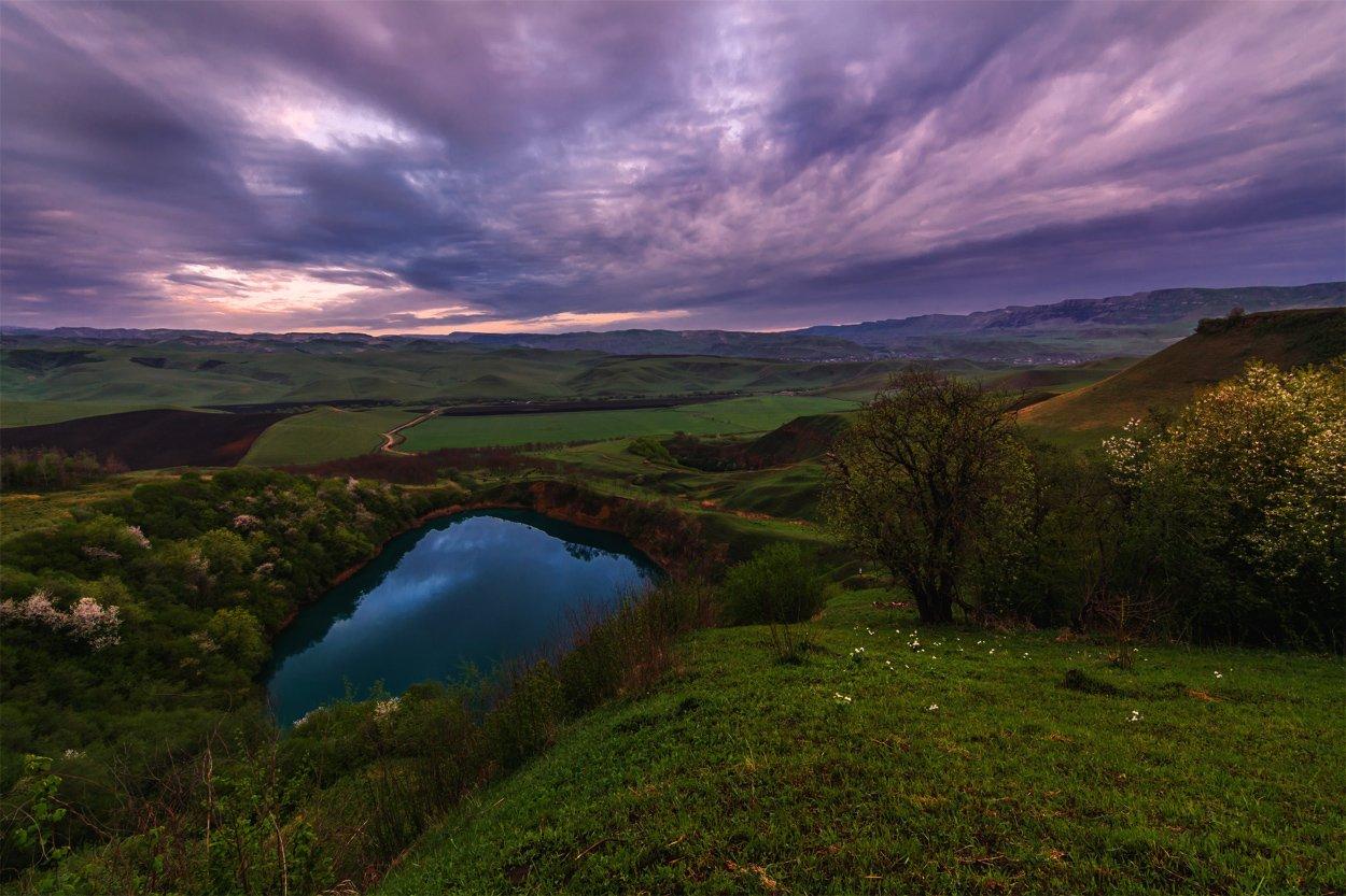 природа, пейзаж, горы, кавказ, природа россии, дикая природа, закат, свет, облака, вечер, весна,, Беляев Альберт