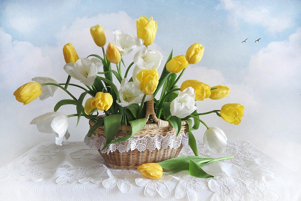 натюрморт,весна,тюльпаны,корзина, Алла Шевченко