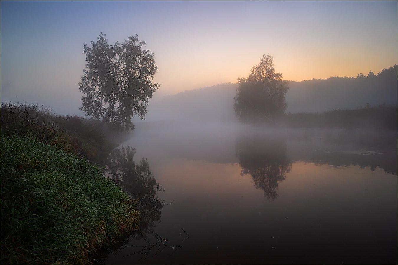 рассвет, река, дымка,, Сергей Шабуневич