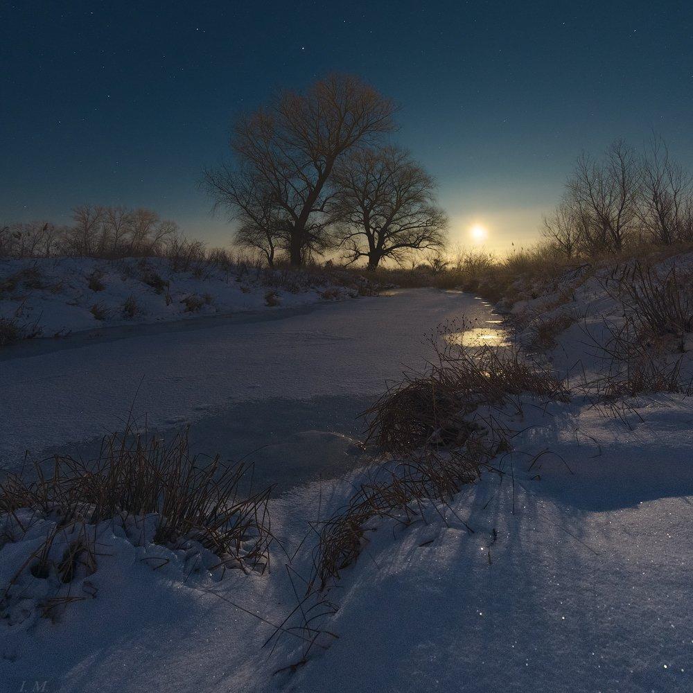light, moon, night, river, winter, деревья, звездное небо, звезды, зима, луна, мороз, небо, ночная съемка, ночной пейзаж, ночь, пейзаж, речка, снег, moonrise, nightscape, night photography, starry sky, Ivan Maljarenko