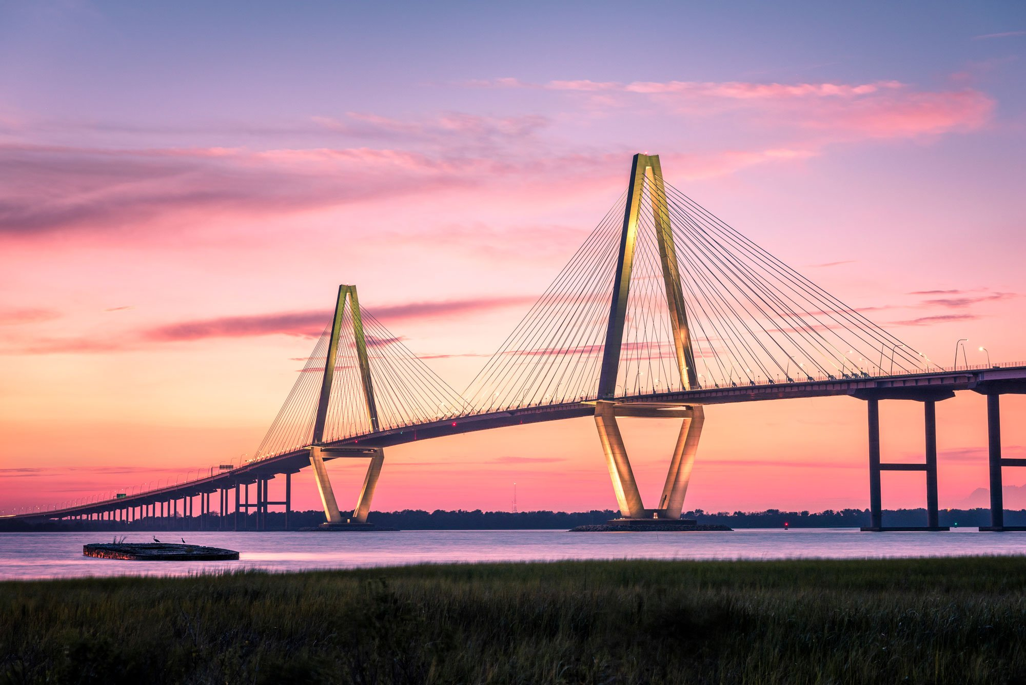 southcarolina,charleston,arthur raveneljr bridge, sunset, Vitaly Glad