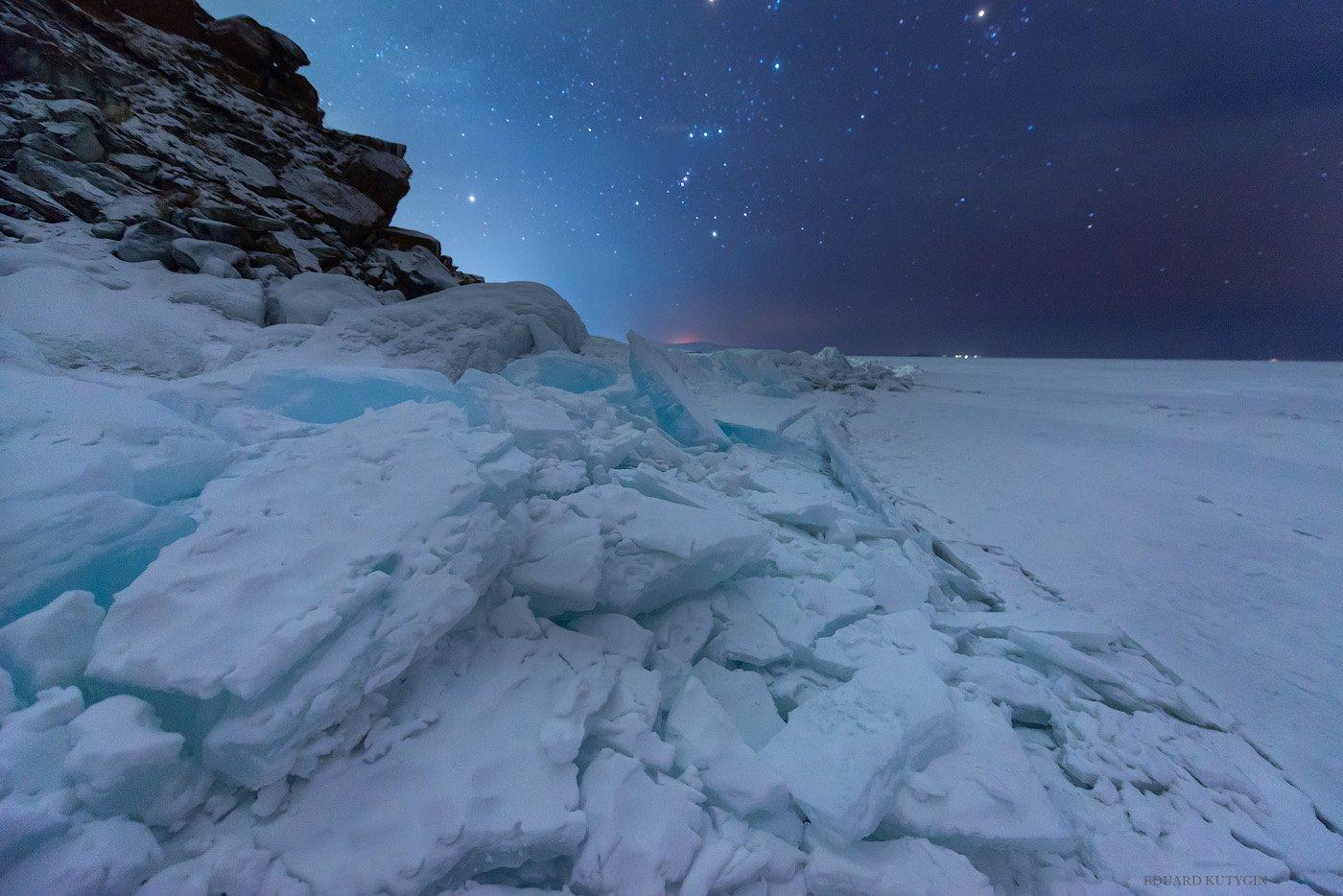 #бурхан #шаманка #байкал #хужир #лёд #лед #трещина #байкальский_хребет #звёзды #ночь, Кутыгин Эдуард