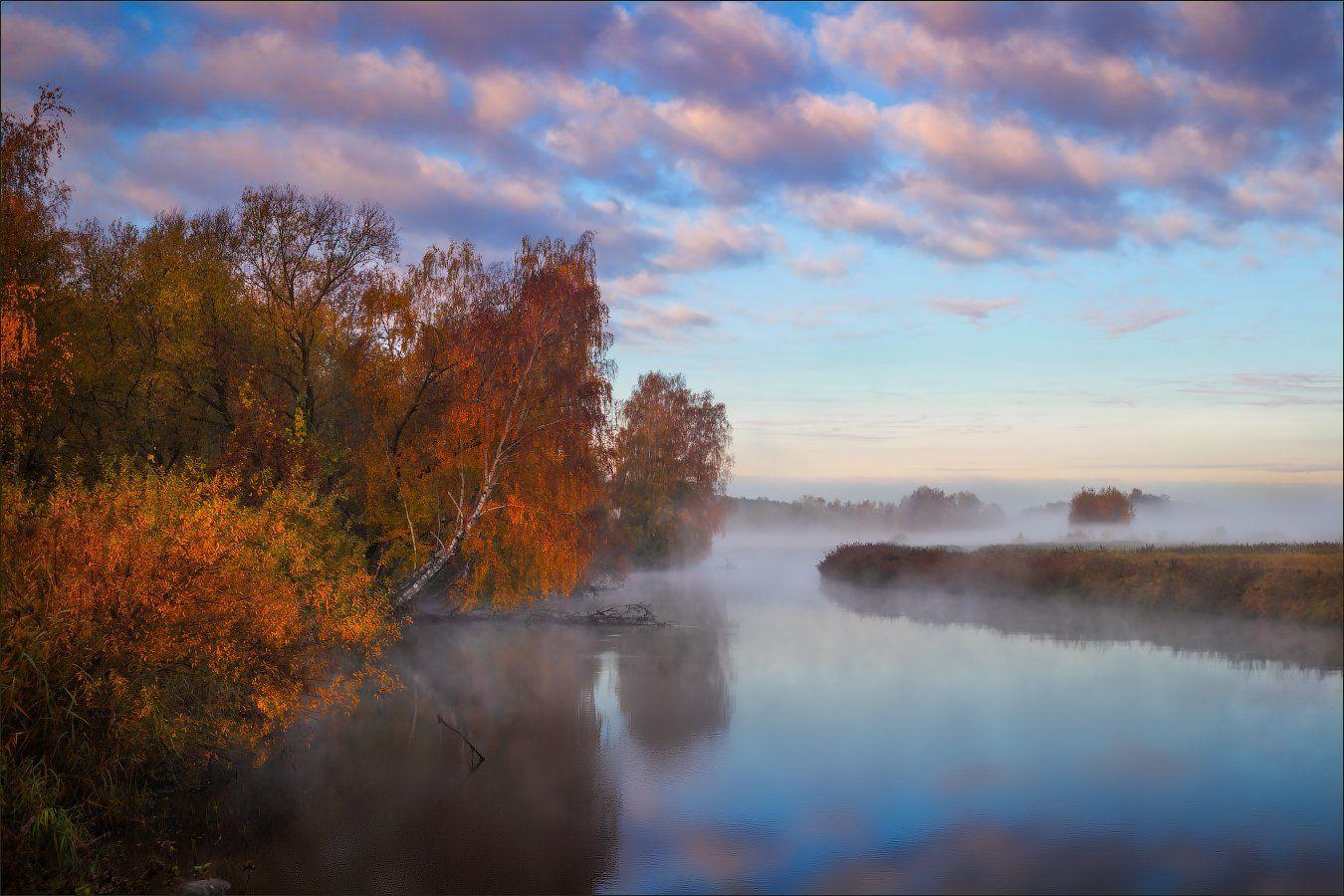 рассвет, река, осень,, Сергей Шабуневич