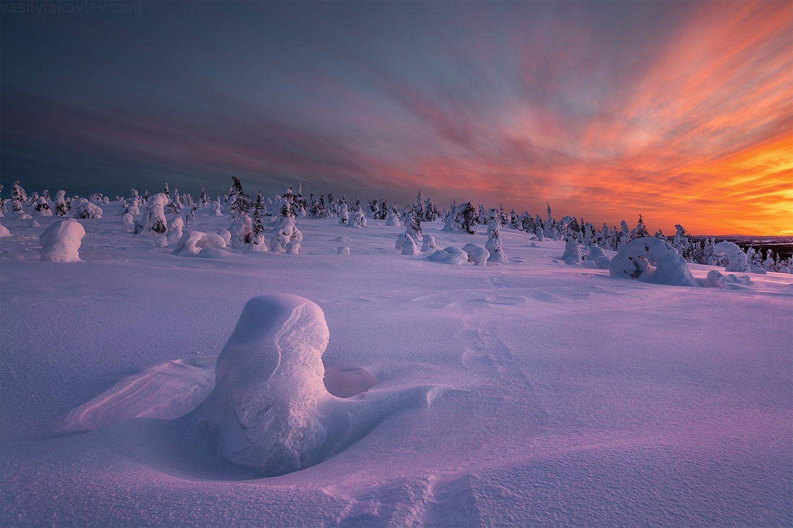финляндия, лапландия, зима, закат, Василий Яковлев