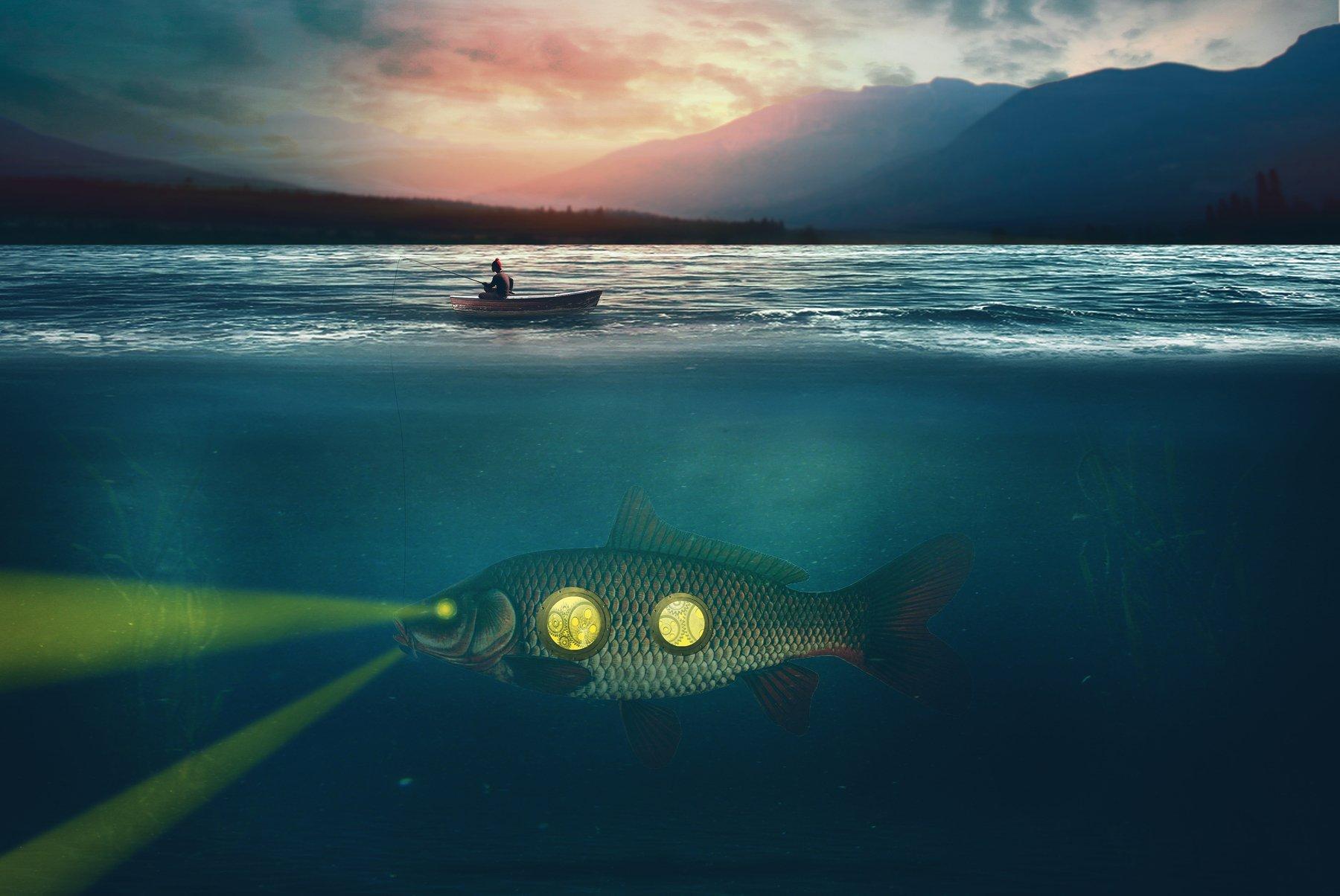 рыба, океан, лодка, Sergii Vidov