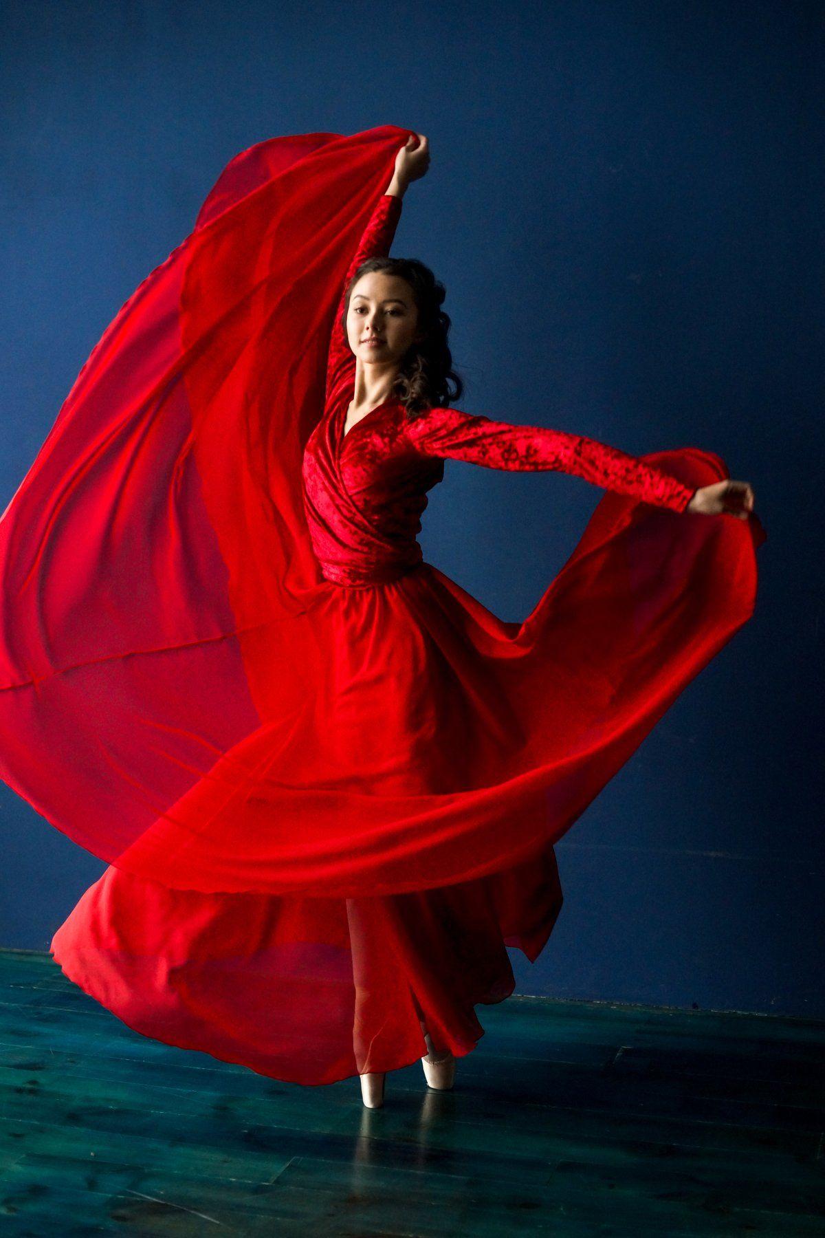 балет, балерина, студия, цвет, синий, платье, шифон, артист, танец, красный, Анна