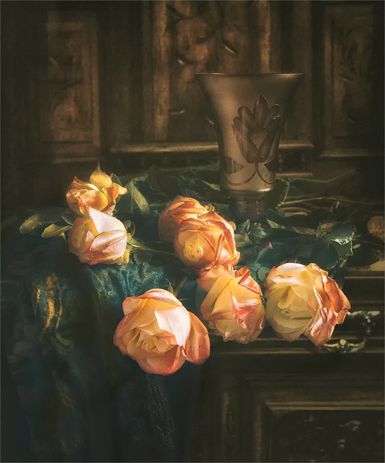still life, натюрморт,    винтаж,  ретро, цветы,букет,  роза, стилизация, ваза,, Шерман Михаил