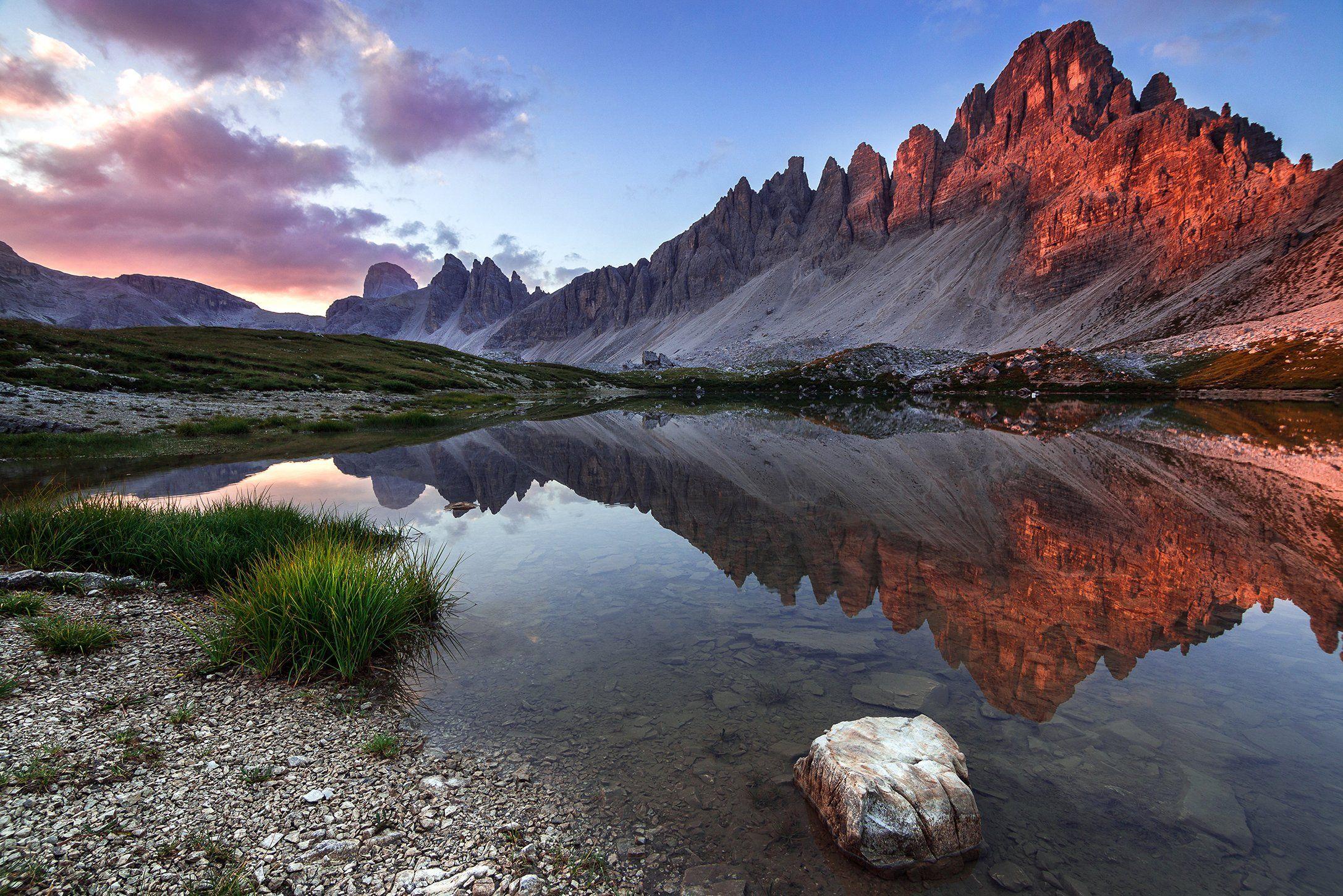 mountains, dolomites, italy, sunrise, landscape, nature, travel, summer, peak, clouds, lake, reflection, Lazar Ioan Ovidiu
