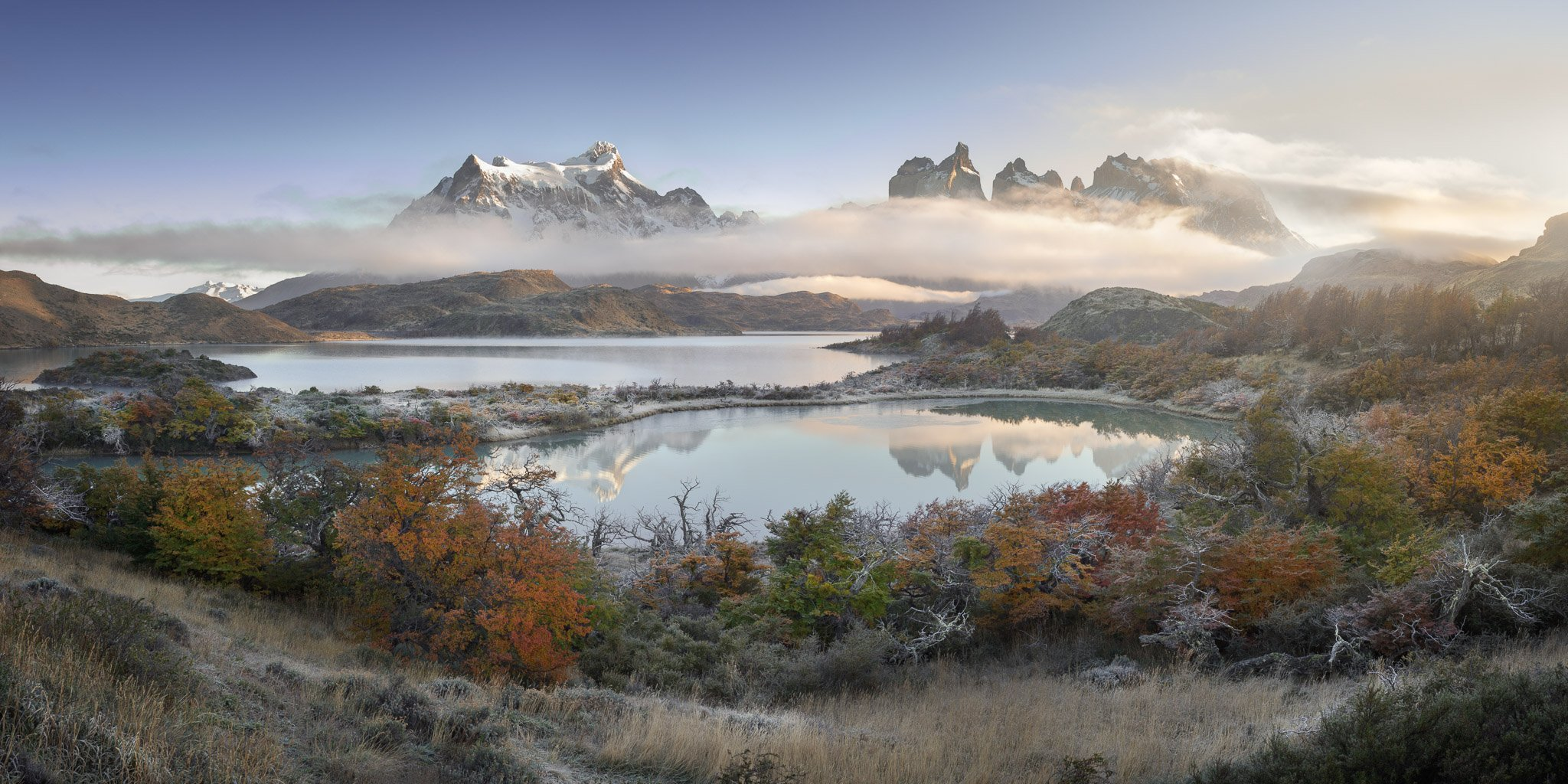 america, andes, beautiful, blue, chile, clouds, cuernos, del, frost, glacier, hiking, hill, ice, lake, landmark, landscape, light, mirror, morning, mountain, national, nature, orange, outdoor, paine, pano, panorama, panoramic, park, patagonia, peak, pehoe, anshar