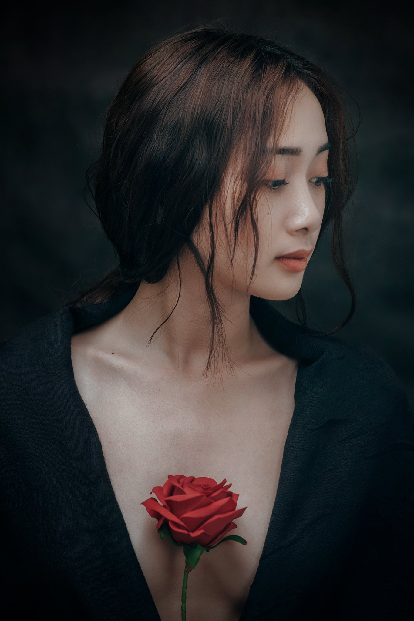 people, portrait, girl, asian, vietnam, vietnamese, face, young, beauty, glamour, mood portrait, mood, flowers, rose, Hoang Viet Nguyen