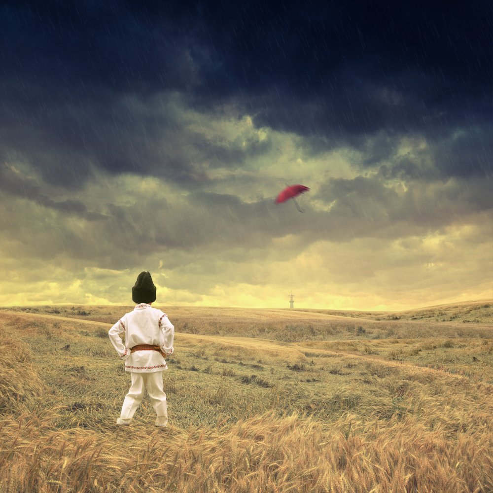 grain, child, strong wind, rain, clouds, alone, fly, umbrella, looking, ground, Caras Ionut