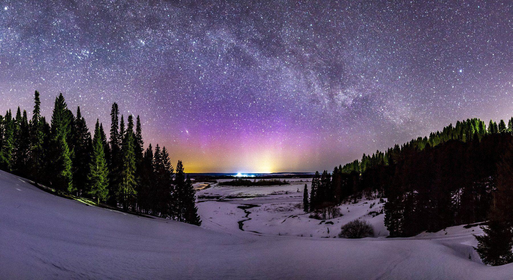 звезды, млечный путь, ночь, астрофото, река, северное сияние, Андрей Козлов