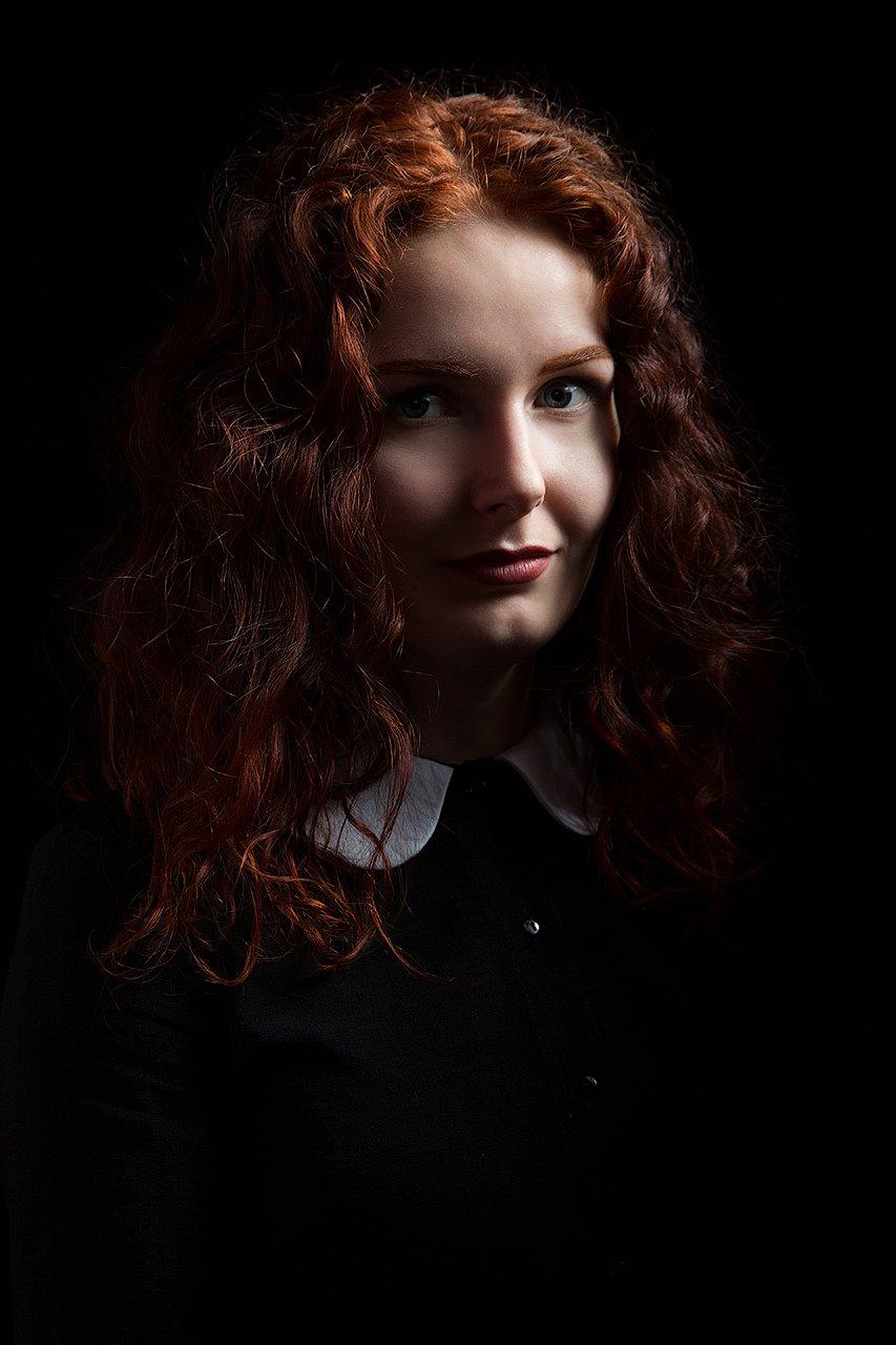 рыжая, девушка, портрет, женский, кудри, волосы, свет, объем, Комарова Дарья