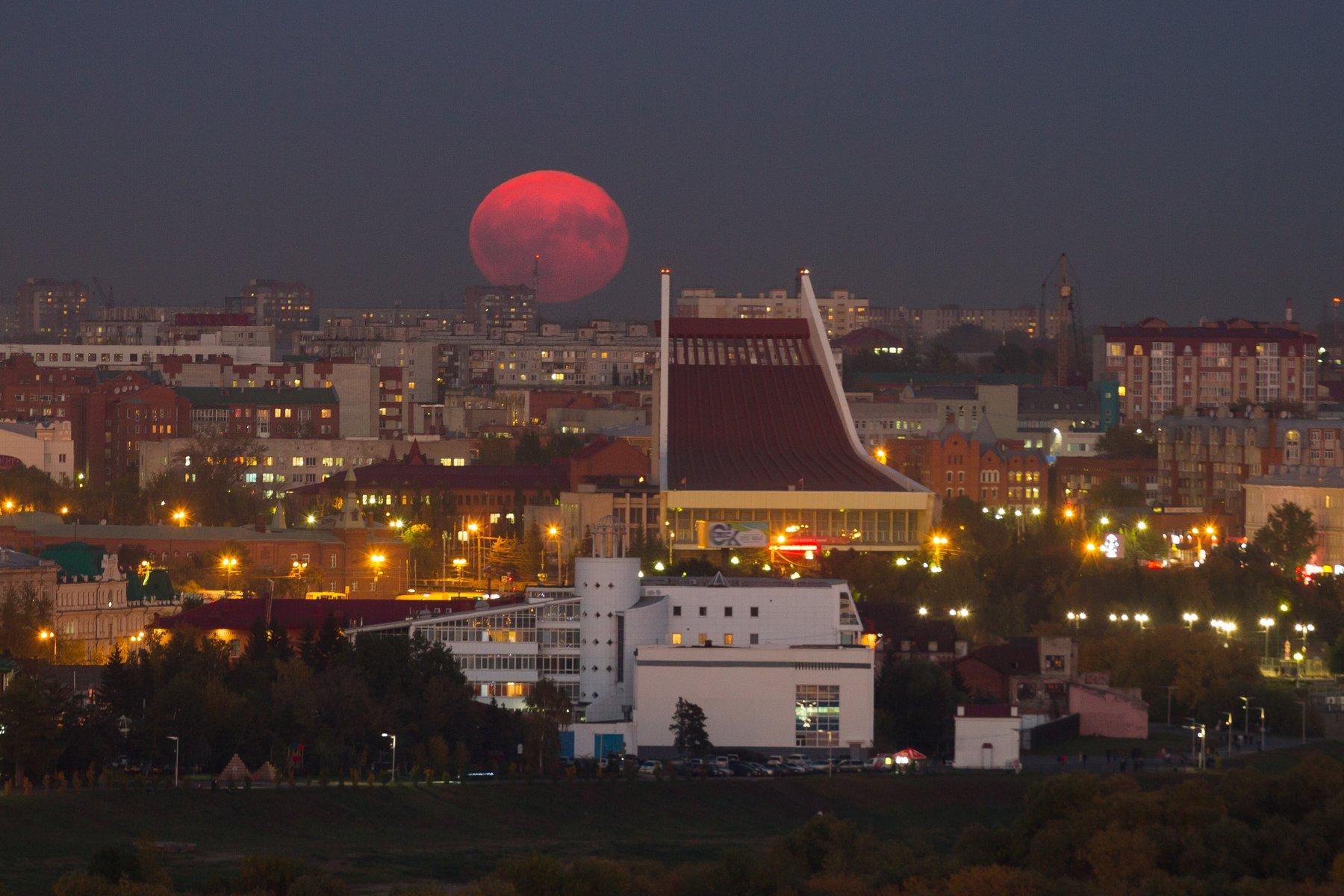 омск, сибирь, россия, городской пейзаж, луна, пейзаж, Креймер Мария