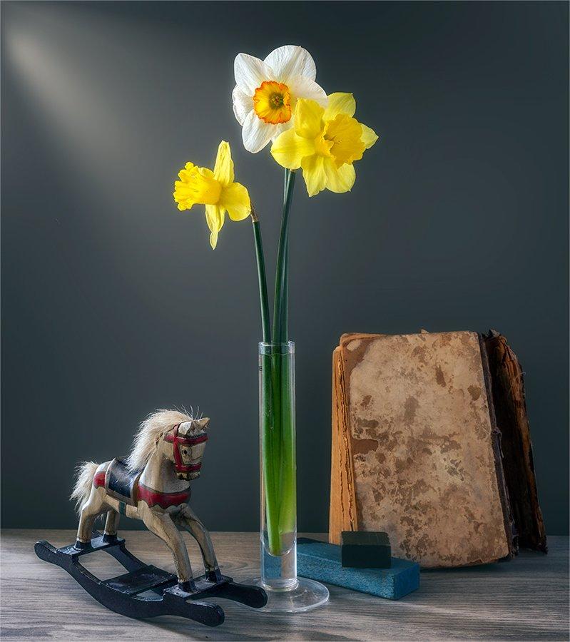 still life, натюрморт,    винтаж,    цветы,   нарцисс, книга, игрушка, деревянная лошадка, Шерман Михаил