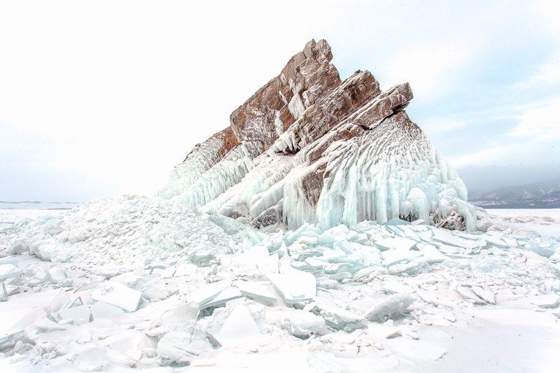 зима, Байкал, лед, снег, холод, скалы, остров, Малое море, Сергей Козинцев
