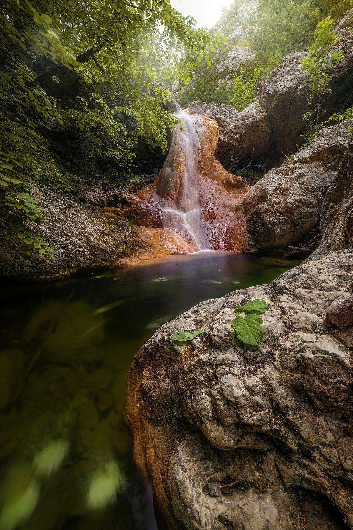 мелодия, водопад, река, горы, крым, весна, лето, листья, Макс
