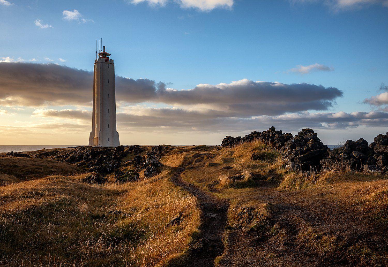 iceland, lighthouse, malarrif, sunrise, goldenhour, spring, clouds, architecture, Szabó Ladislav