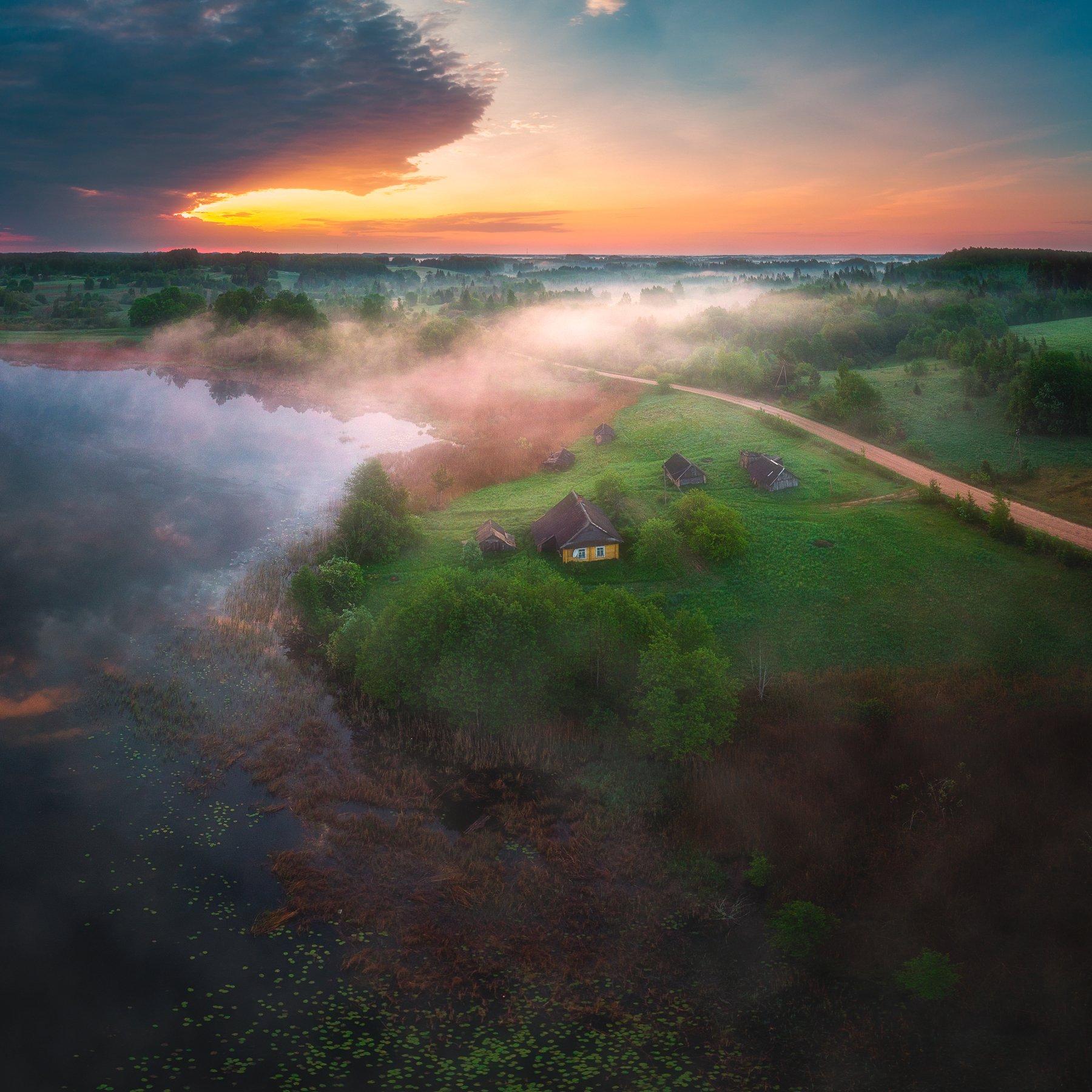 landscape,sunrise,drone,fog,light,lake, Olegs Bucis