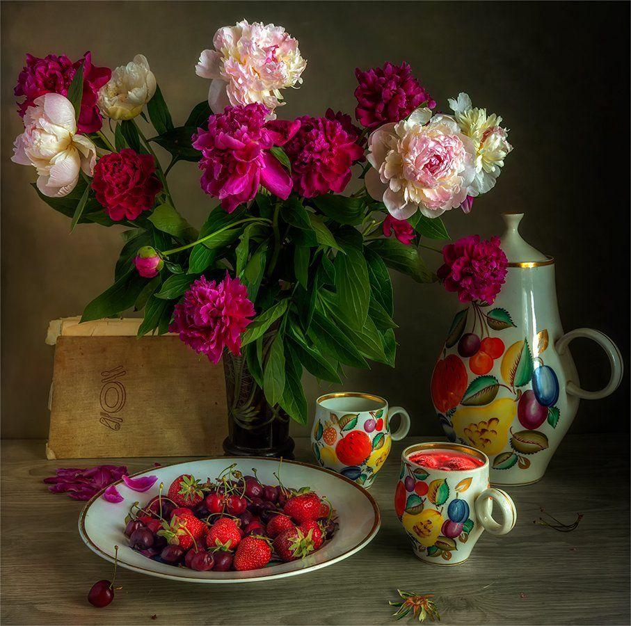 still life, натюрморт,    винтаж,    цветы,   пионы, букет, кувшин, чашка, напиток, клубника, черешня, ягоды, еда, книга,, Шерман Михаил