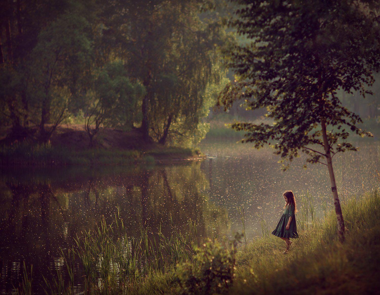 девочка, пруд, озеро, вода, отражение, лес, деревья, Катрин Белоцерковская