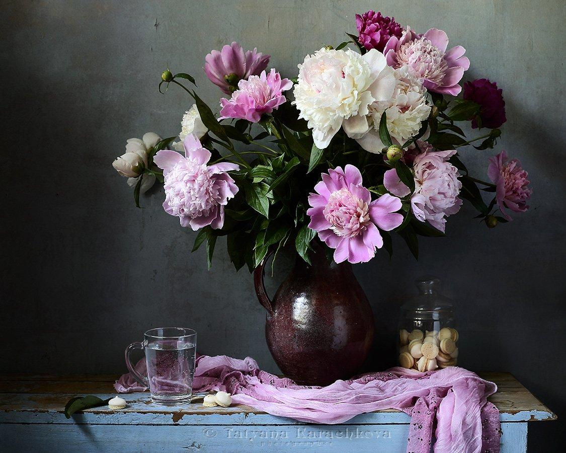натюрморт, цветы, пионы, кувшин, karachkova tatyana