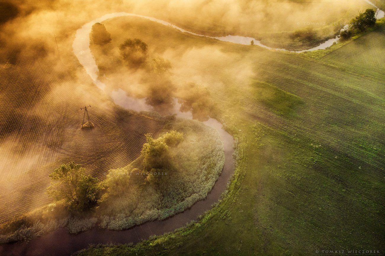 fields, drone, dji, air, poland, polish, landscape, sunrise, sunset, colours, spring, awesome, amazing, adventure, travel, beautiful, morning, fog, Tomasz Wieczorek