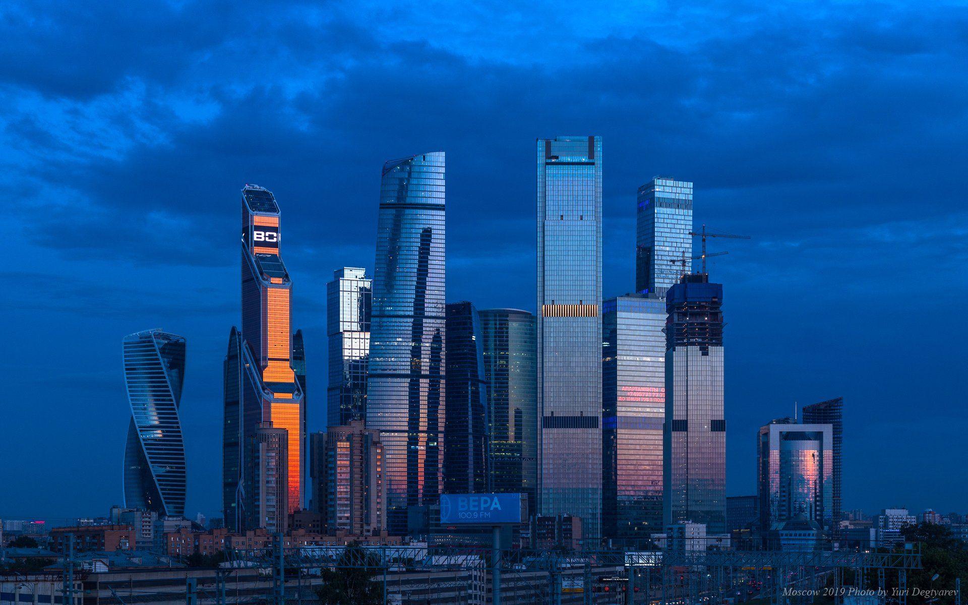 Москва, высотки, небоскребы, Сити, ММДЦ, Москва-Сити, вечер, Юрий Дегтярёв