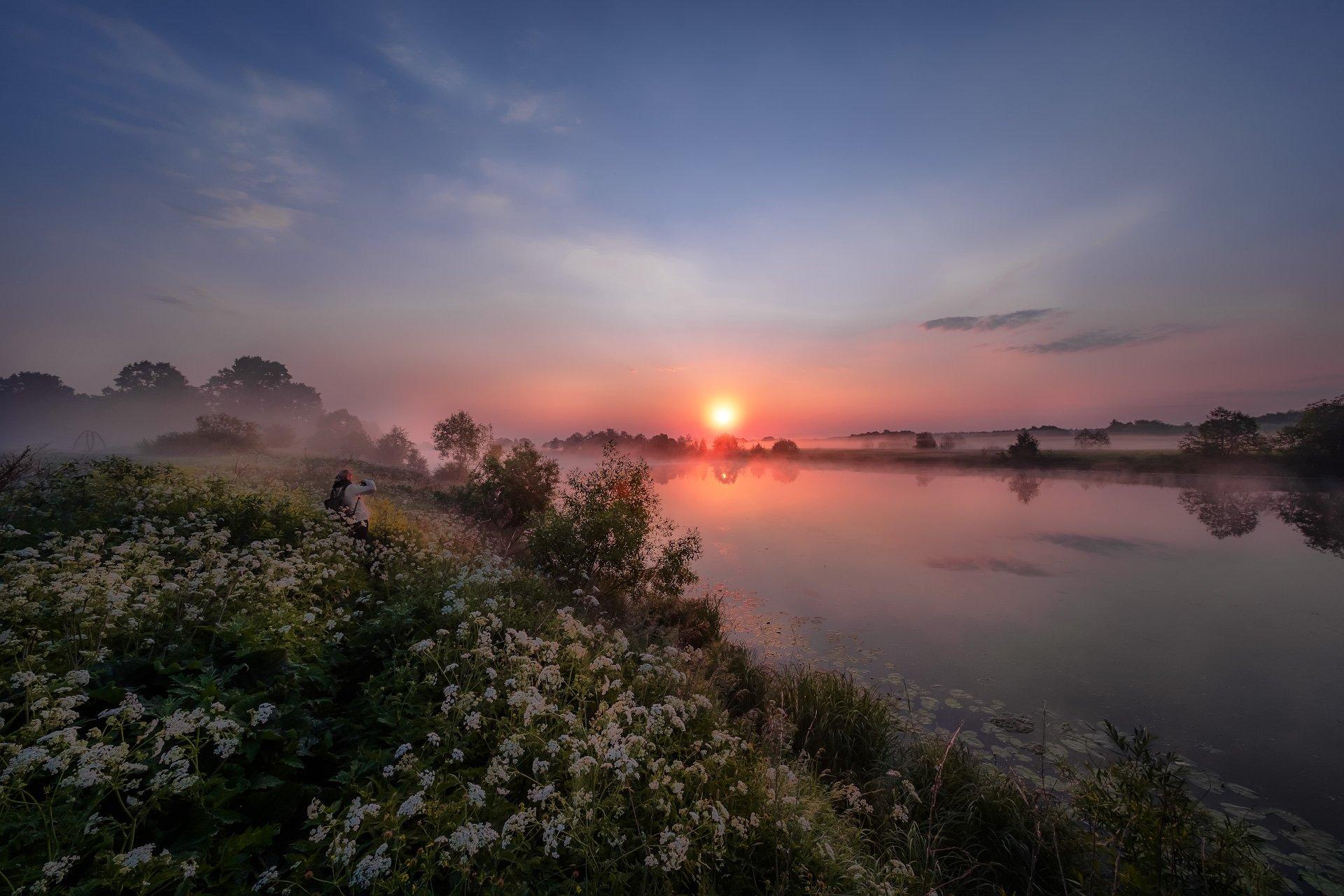 дубна, река, утро, рассвет, фотограф, девушка, туман, цветы, небо, солнце, свет, Андрей Чиж