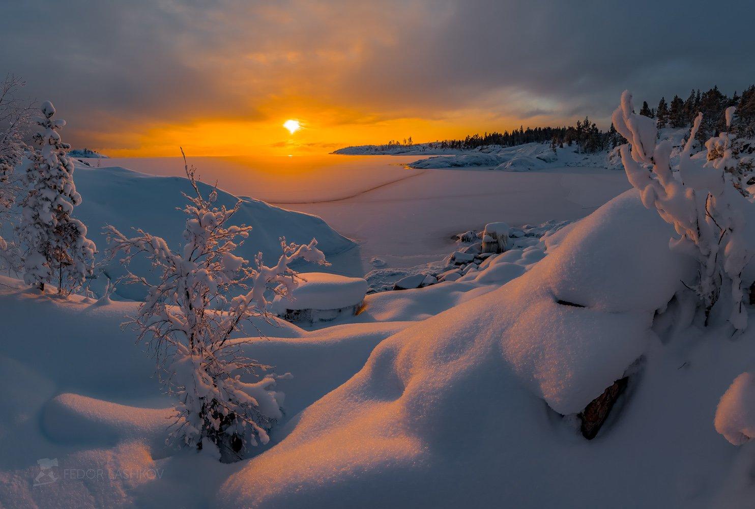 Ладожское озеро, Карелия, шхеры, зима, снег, рассвет, солнце, небо, дерево, лёд, время года, , Лашков Фёдор