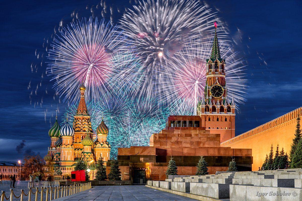 москва, кремль, собор василия блаженного, салют, moscow, kremlin, st. basil's cathedral, salute, Игорь Соболев