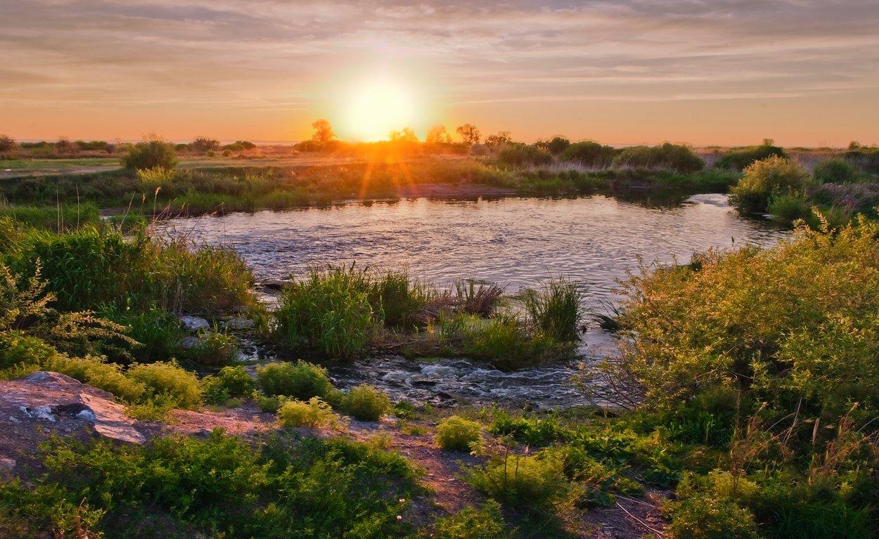 закат, степь, озеро, камыш, Андрей Журавлев