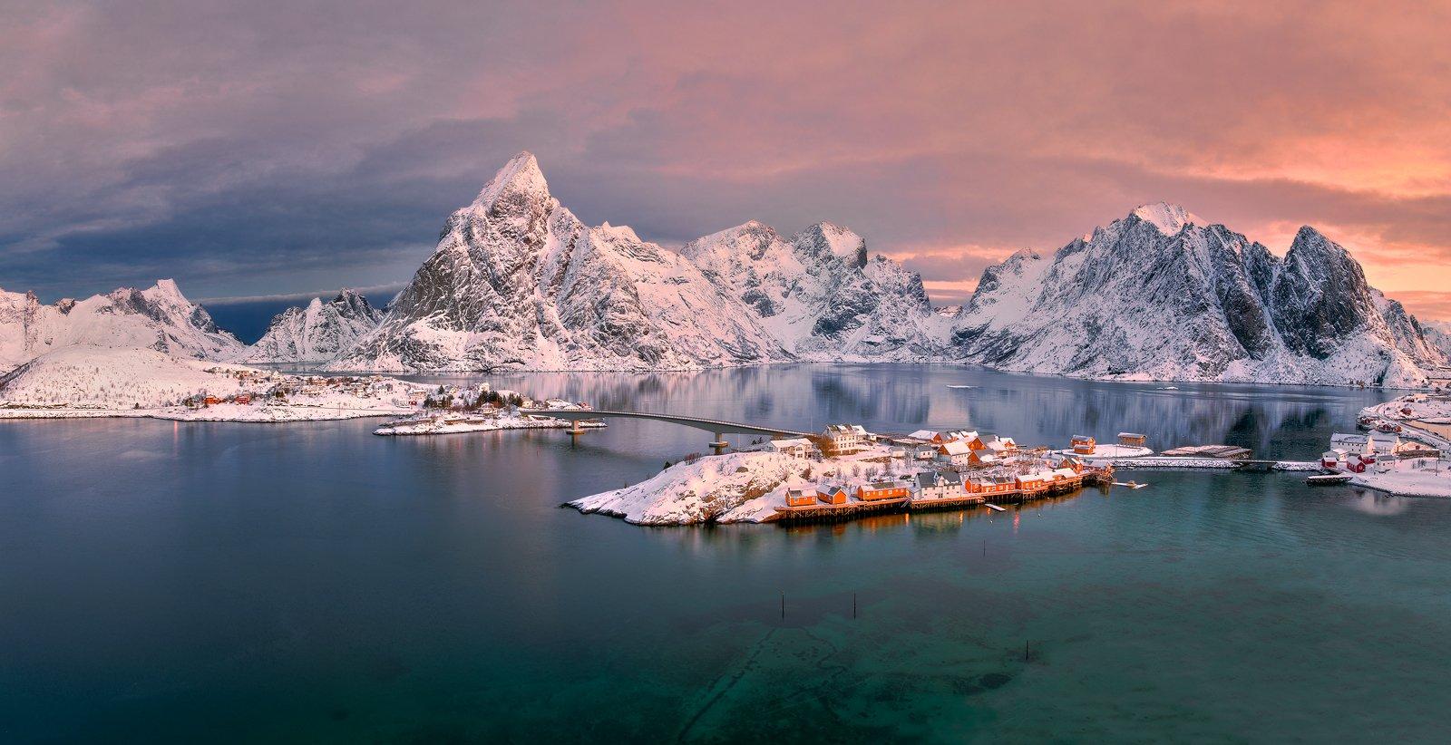 norway, winter, landscape, sea, sakrisoy, Jan Siemiński